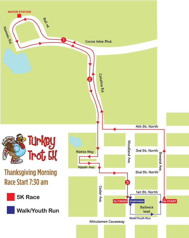 Space Coast Art Festival Turkey Trot 5k Map